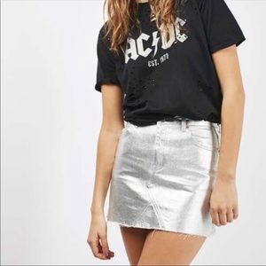 Topshop Metallic Silver Skirt